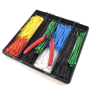 600 PIECE ASSORTED CABLE TIES KIT ZIP TIE WRAPS VARIOUS SIZES COLOURS PLUS TOOL