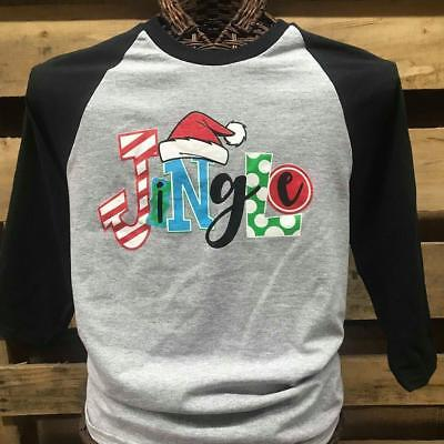 Southern Chics Jingle Christmas Santa Hat Raglan Canvas Girlie 3/4 Long Sleeve T