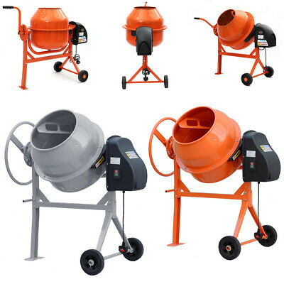 Electric Cement Mixer 120/140L Portable Concrete Mortar Mixing Machine UK Plug