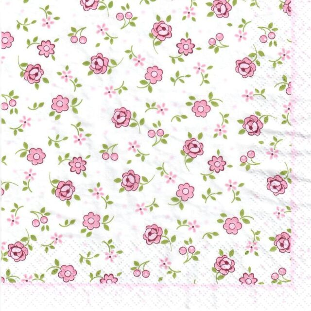 4 Single paper decoupage napkins. Flowers, pink, background, pattern design-352