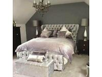Sale Now On - Up to 55% Off - Brand New Crush Velvet PRINCE Bed in Double or King Sizes
