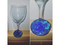 Jazzle blue wine glass. Boxed. £10
