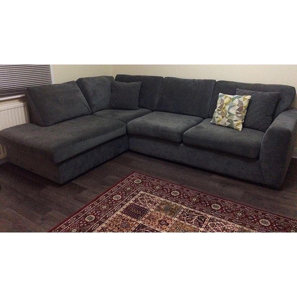 Fabric Corner Sofa Grey/graphite (DFS)