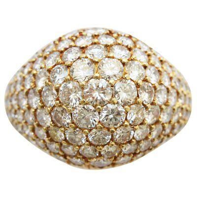Cartier 18k Yellow Gold Brilliant Cut Bombe Style Diamond Ring 3.5 CTW
