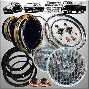 classic mini halogen headlamps headlight bowl kit with. Black Bedroom Furniture Sets. Home Design Ideas