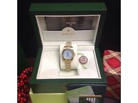 Boxed Rolex Datejust with all gold bracelet and blue face All comes in Rolex bag and box & papers