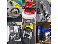 Collection of power tools, drills, saw, polisher, minicraft, heat gun