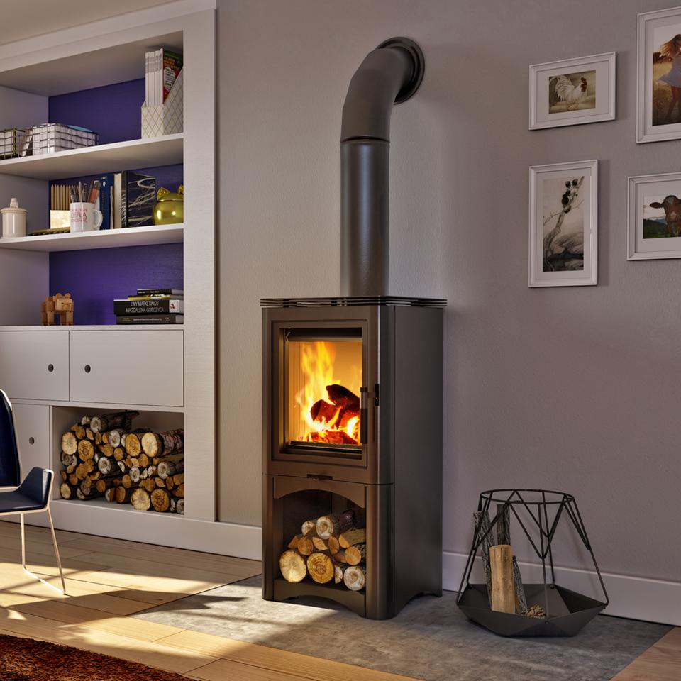 Free Standing Stove K5 S Contemporary Stove Wood Burner Plus Log Burner Storage Ebay