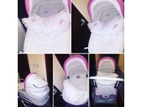 Leather pink and white 2n1 pram
