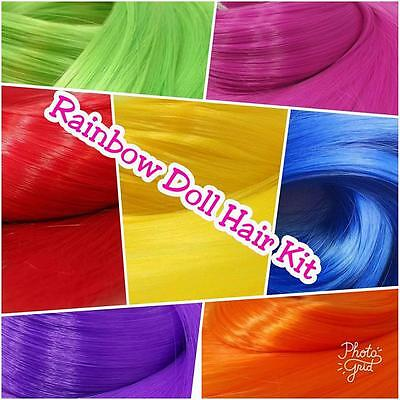 Rainbow Nylon Doll Hair Colors Doll Rerooting Kit 7 Hanks OOAK custom Dolls Pony