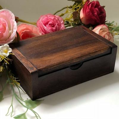 100% Teak Wood Trinket Name Card Holder Jewelry Storage Box Keepsake Thai Wooden