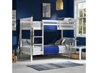 BRAND NEW, SOLID, QUALITY, STRONG, FRAME, SNOW WHITE, WOODEN, BUNK BED, WITH MATTRESS