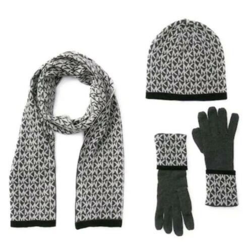$98 Michael Kors Womens 3 Pc Set MK Logo Scarf Hat & Gloves Dark Gray One Size