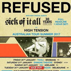 2 x REFUSED tix to the SOLD OUT Melbourne show on Tues 24/01/17 Pascoe Vale Moreland Area Preview