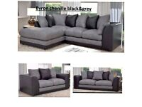 BRAND NEW BYRON CHENILLE FABRIC CORNER OR 3+2 SEATER SOFA SET AVAILABLE IN STOCK ORDER NOW