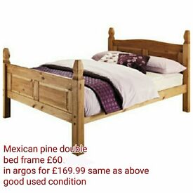 Mexican pine double bed frame