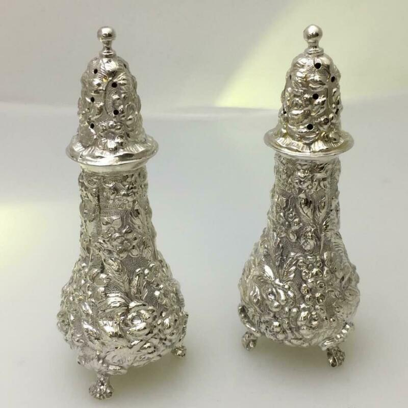 Antique Repousse Rose by Stieff Sterling Silver Salt & Pepper Shakers #12