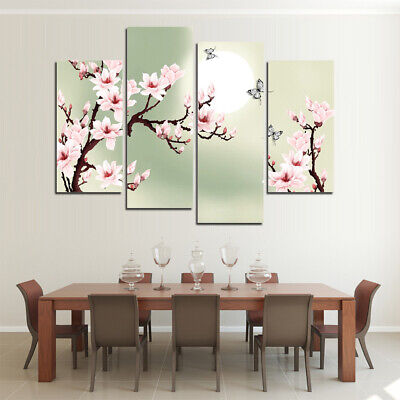 - Cherry Blossom And Butterflies 4 Panel Canvas Print Wall Art Poster