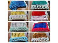 Handmade Pom Pom Blankets Car seat and moses basket or pram sized