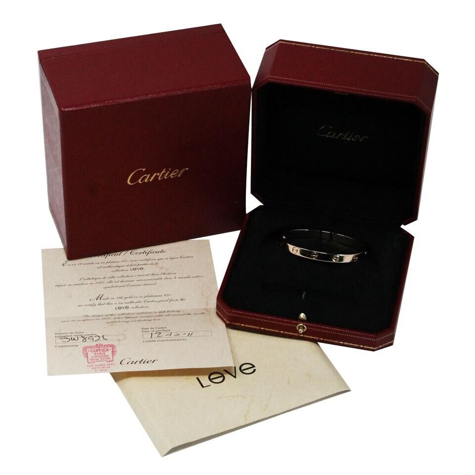 Cartier LOVE Bangle Bracelet 18k Rose Pink Gold New Style Box Size 17