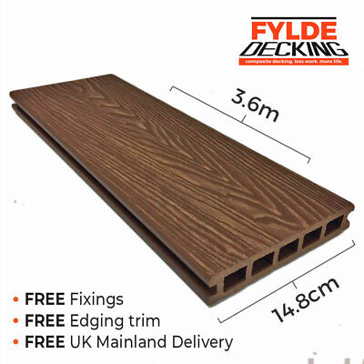 Brown Teak 3.6m Composite WPC Decking Natural Woodgrain DIY Kit  | FREE Delivery