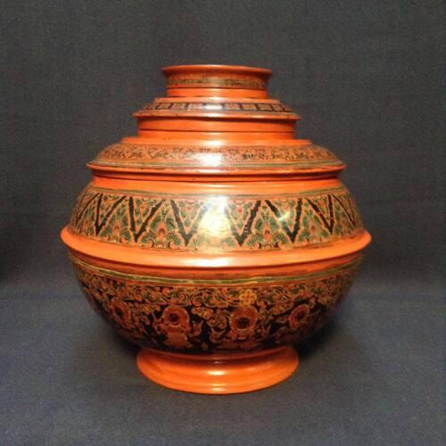 Vintage 19th century Burmese Lacquer Round Box 5 Pcs.