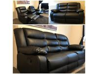 New Comfortable 3 + 2 Seater Roma Leather Recliner Sofa Set