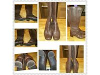 Ladies Clarks Leather Brown Knee high boots size 6