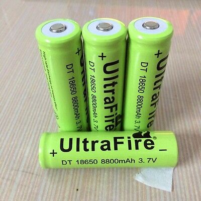 4x UltraFire 18650 8800 3.7V Rechargeable Li-ion Battery for Flashlight torch