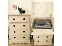 Record Player/Turntable Cupboard/Unit, Shabby Chic Chalk Paint/Musical Decoupage - UNIQUE