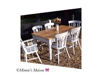 Painted Wooden Pine Dining Room Table 3ft X 5ft with 4 chairs