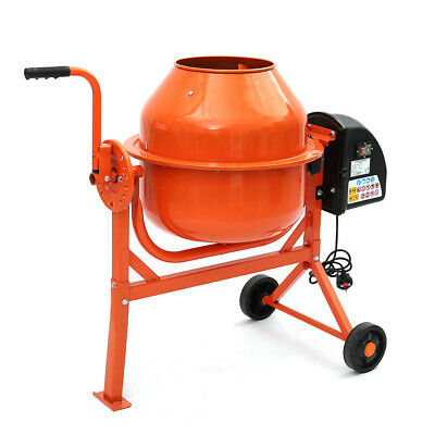 63L LITRE 230V 220W ELECTRIC CONCRETE CEMENT MIXER MORTAR 360° MOVING WHEEL TOOL