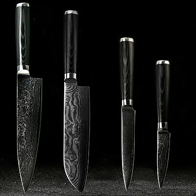 Japanese Damascus knives set 8 inch chef knife 7.5 inch santoku 5 inch utility 3
