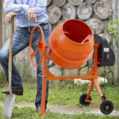 120L Litre Electric Cement Mixer Concrete Drum Plaster Mortar Stand with Wheels