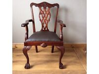 Antique Edwardian Ball and Claw Leg Carver Armchair