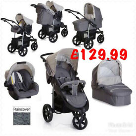 EXDISPLAY HAUCK VIPER TRIO SET GREY TRAVEL SYSTEM PRAM PUSHCHAIR 3 WHEELER CAR SEAT FROM BIRTH