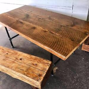 Rustic Barnwood Dining Table with Black Pipe