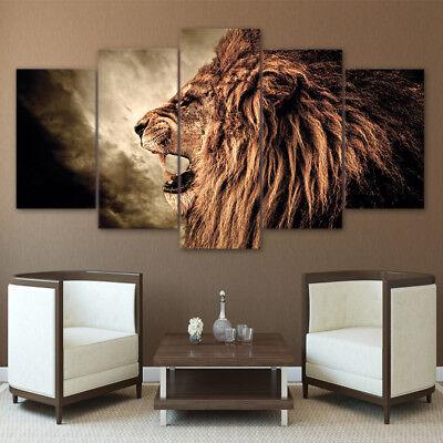 (Fierce Male Lion Roar 5 Pieces canvas Wall Art Poster Picture Home Decor)