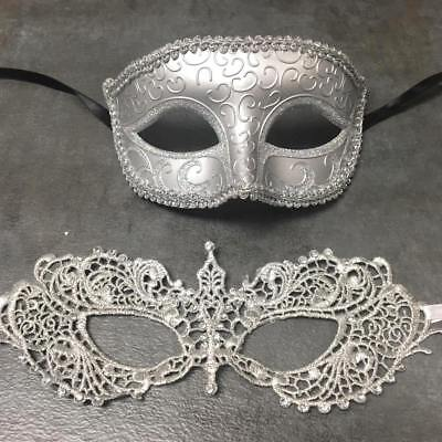 Silver Couple Masquerade Ball Mask Mardi Gras Halloween 2x Classic Mask  - Mardi Gras Wholesale
