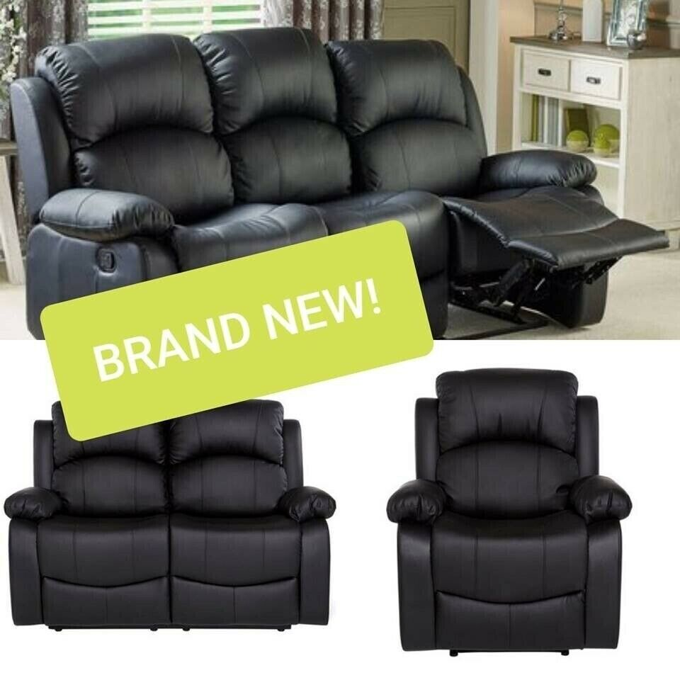 Comfy 3 2 1 Recliner Sofa Couch Set Black Leather Living Room
