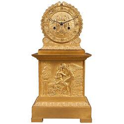 French Antique Charles X Ormolu Bronze Mantel Clock Depicting Cupid & Psyche