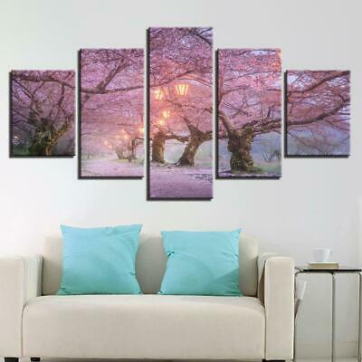 - Cherry Blossoms Road 5 panel canvas Wall Art Home Decor Poster Print
