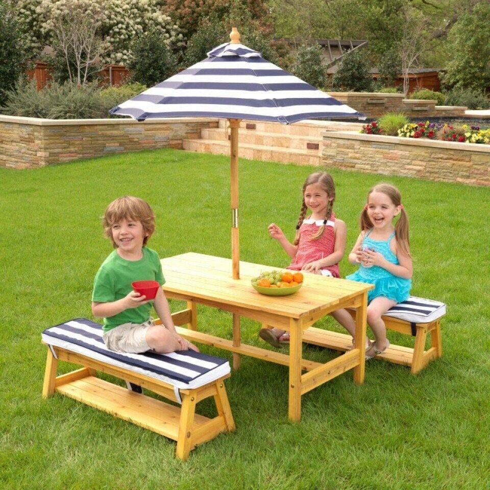 Terrific Details About Kidkraft 00106 Kids Outdoor Patio Picnic Table Bench Set W Cushions Umbrella Machost Co Dining Chair Design Ideas Machostcouk