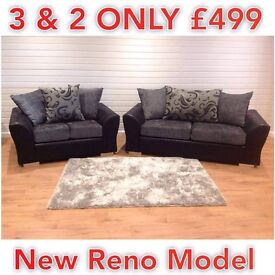 BRAND NEW DQF Reno 3 + 2 Sofa Set. ONLY £499