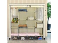 Clothes Closet Portable Wardrobe Clothes Storage Rack 12 Shelves + 4 Side Pockets