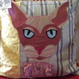 Handmade felt appliqué Cat cushion