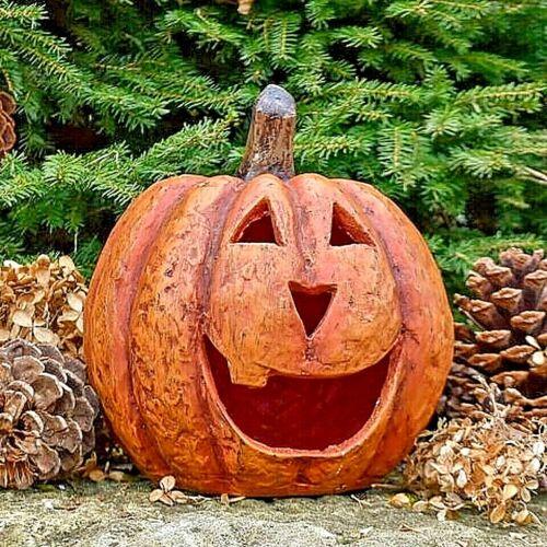 "Primitive/Country Resin 8"" ORANGE BIG MOUTH PUMPKIN  JACK O LANTERN Halloween"