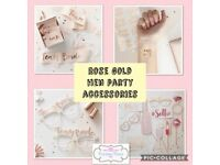 Rose gold hen party accessories