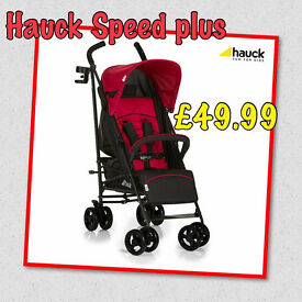 NEW IN BOX HAUCK SPEED PLUS LIGHTWEIGHT BUGGY STROLLER IN RED WITH RAIN COVER FROM BIRTH.