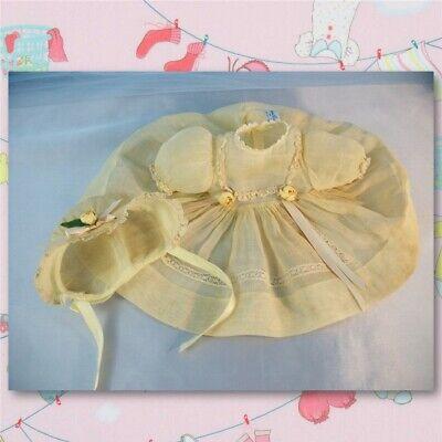 Vintage Tagged Madame Alexander Organdy Doll Dress and Bonnet